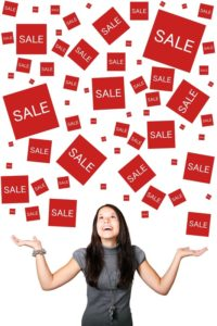 Sale icons in red