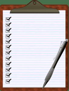 clipboard whitelined paper checklist