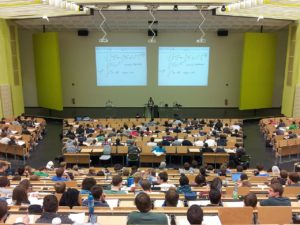 college lecture hall students