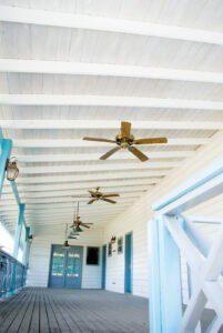elegant porch with ceiling fans